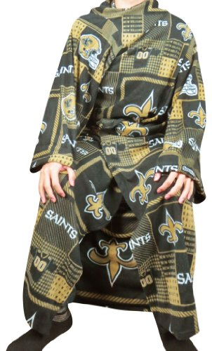 NFL New Orleans Saints Large Throw Blanket With Sleeves that folds into a Couch Pillow - Multicolour (Size: One size) at Amazon.com