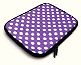 Flash Superstore Polka Dots Purple / White Water Resistant Neoprene Soft Zip Case/Cover suitable for HP Probook 5330M ( 13-14 Inch Laptop / Notebook )