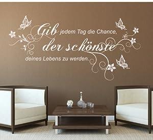"""SCHWARZ-greenluup ökologisches Wandtattoo Mark Twain Zitat """"Gib jedem Tag die Chance..."""" Schmetterlinge Blumen Blumenranke"""