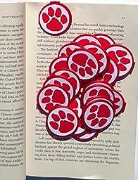 RED Animal Paw Print School Mascot BOOKMARKS (Set of 36)
