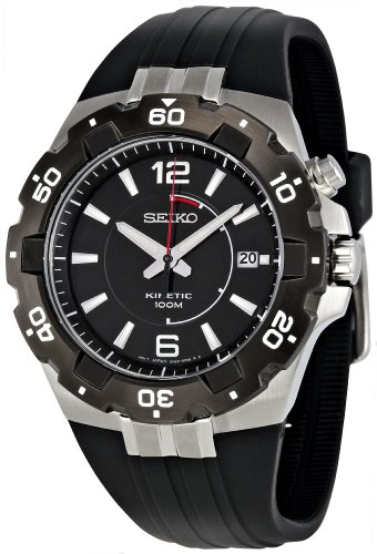 Seiko Men's Quartz Watch with Black Dial Analogue Display and Black Resin Bracelet SKA445P2