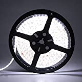 LEDMO® 600LEDs SMD 2835 LED Strip, Waterproof White 6000K 15Lm/LED High CRI80, IP65 for Wet location, 3 times brightness than SMD3528 LED Light Strip, LED Strip Light