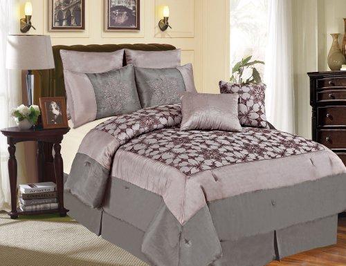 7 Piece Queen Megellan Gray And Purple Comforter Set front-459317