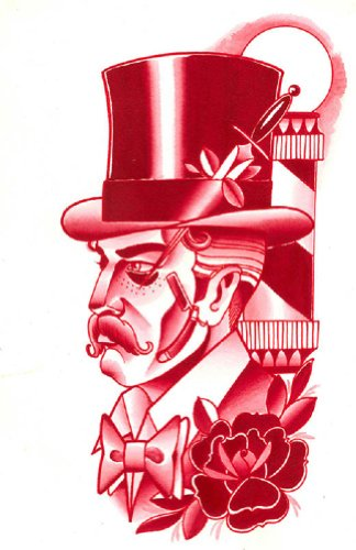 Legacy By Charlie Coffin Steampunk Man Wearing Top Hat Red Canvas Fine Art Print