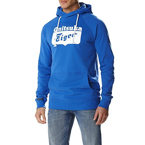 Onitsuka Tiger Felpa con Cappuccio Logo Core Hoodie, Strong Blue-M