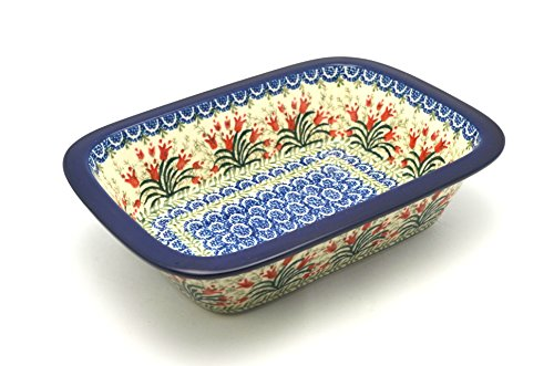 "Polish Pottery Baker - 9 3/4"" Rectangular - Crimson Bells Pattern"