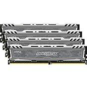 Crucial Ballistix Sport LT 64GB Kit 16GBx4 DDR4 2400 MT S PC4-19200 DIMM 288-Pin - Gray
