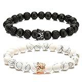 LYLYMIMI Couples Bracelet for Men Women King and Queen Bracelets with Crown Matte Lava Rock Stone (2 Pcs)