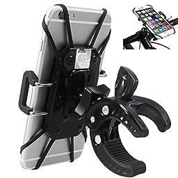 Fun4U Universal Bicycle Mount Phone Holder, Bicycle Motorcycle Bike Handlebar Cradle, for iPhone 6 / 6s Plus, Samsung Galaxy S7 S7 Edge, HTC LG SONY, GPS Device, Color Black