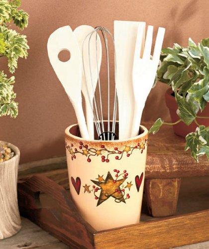 6 Pc Crock Utensil Holder Hearts Stars Country Kitchen