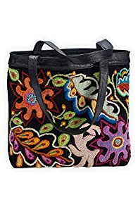 Tey-Art Celeste Hand Embroidered Fair Trade Shoulder Bag (Black)