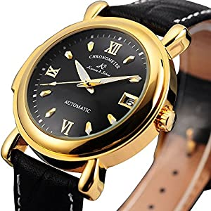 KS Luxury Date Black Leather Analog Wrist Sport Automatic Mechanical Men Watch - Black