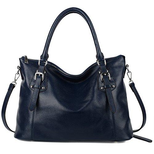 Yaluxe Women's Vintage Genuine Leather Shoulder Tote Bag Handbags (Royal Blue)