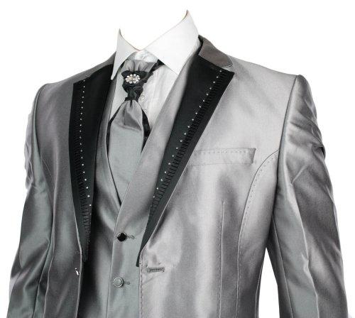 Mens Slim Fit Wedding Party Suit Silver 4 Piece Black Lapels W Daimontes