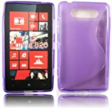 S-Line Gel Case Cover Shell For Nokia Lumia 820 / Purple