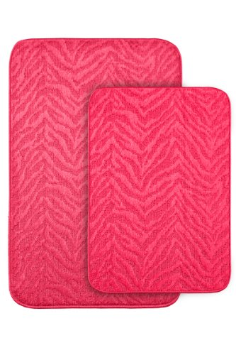 Garland Rug Zebra 2-Piece Bath Rug Set, Pink front-332213