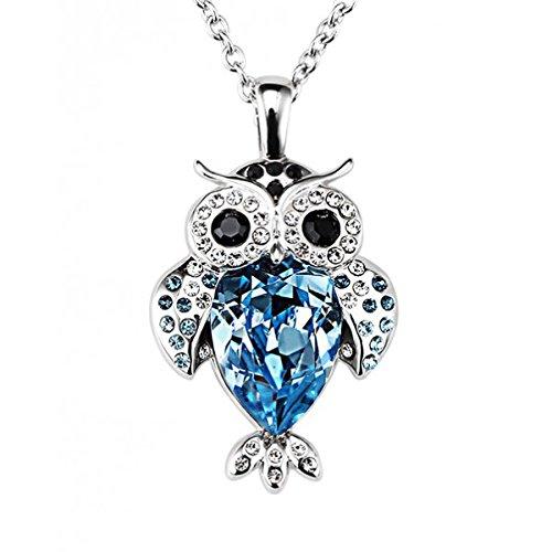 Yparah-Collana a forma di gufo, colore: blu reale, con cristalli di Swarovski, donna