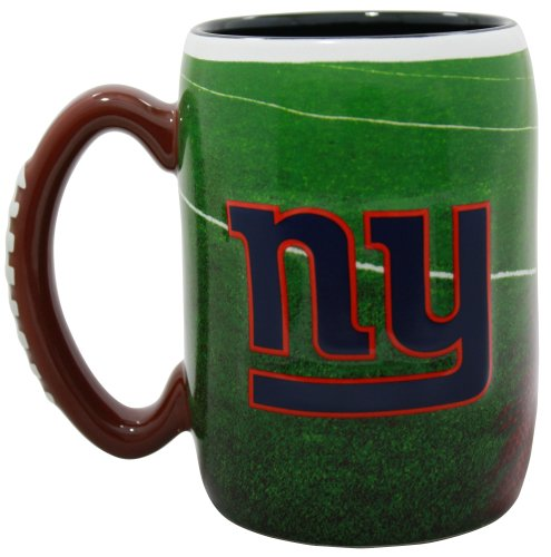 New York Giants 16 Ounce Playing Field Sculpted Logo Relief Coffee Mug