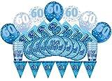 Glitz Azul de 60cumpleaños suministros para fiestas Kit para 8