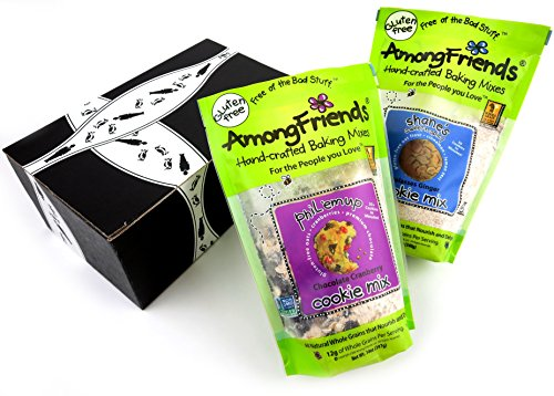 Among Friends Gluten Free Baking Mixes 2-Flavor Variety: One 14 oz Bag of Phil 'Em Up Chocolate Cranberry Cookie Mix and One 12 oz Bag of Shane's Sweet-N-Spicy Molasses Ginger Cookie Mix in a Gift Box