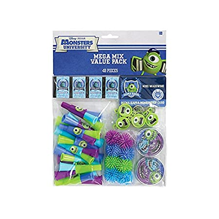 Monsters University Value Pack includes: 8 Maze puzzles 8 Mini notebooks 8 Oozma Kappa membership cards 8 Mike key chains 8 Wooly balls and 8 Horns