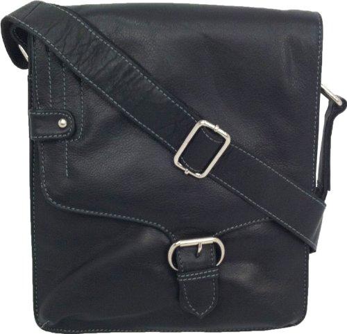 UNICORN Vera Pelle ipad, Ebook o Tablets Borsa Nero Messenger Bag #3M