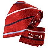H5035 Burgundy Striped Men With Ties Silk Cufflinks Hanky Set 3PT By Y&G
