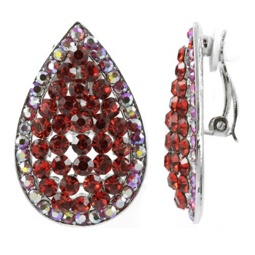 Hilda's Teardrop Clip On Earrings - Red - Final Sale