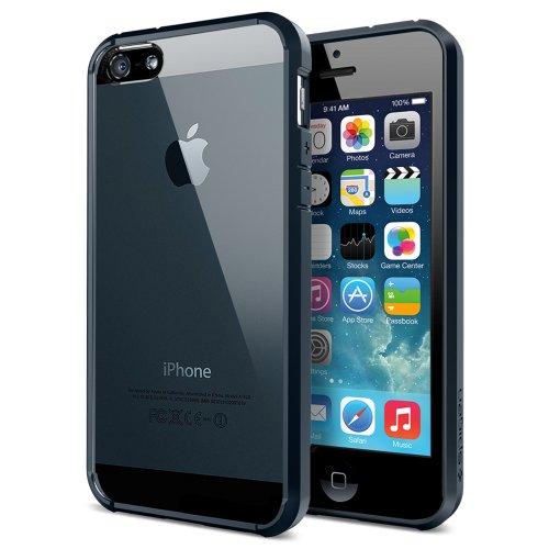 国内正規品 Spigen iPhone 5s / 5 ケース ウルトラ・ハイブリッド クリア バンパー (エアクッションテクノロジー) (日本製 液晶保護 フィルム付) [メタル・スレート] SGP10711