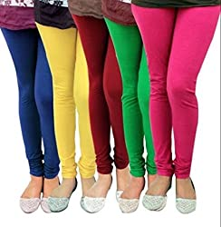 BULLY Women's Cotton Lycra Leggings combo of 5 (MPJLEG-77)