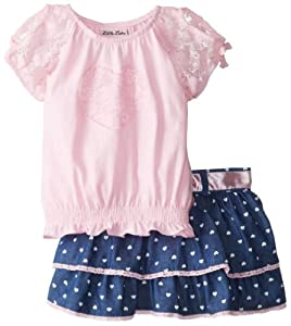 Little Lass Girls 2-6X 2 Piece Scooter Set Knit Disco Dot Lace by Little Lass