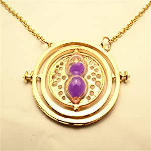 Full-Link Harry Potter Hermione Granger Time Turner Necklace Pendant Hourglass (purple)