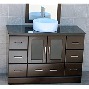 M48 Bathroom Vanity Cabinet With Black Granite Top