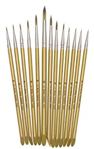 Fusion Synthetic Artist Paint Brush Set of 13 Round Brushes By Royal and Langnickel