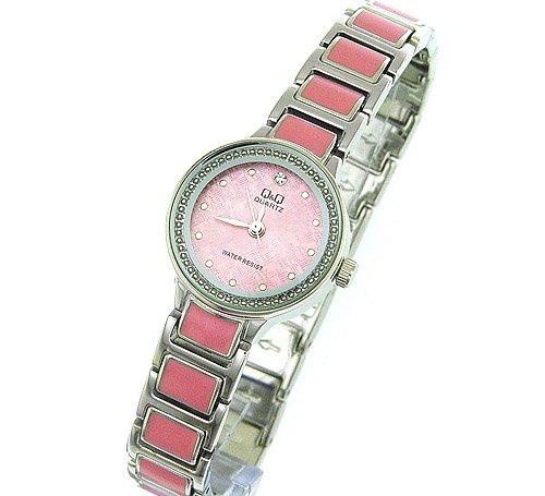 Silver Band Pink Cermeric Ladies Bracelet Analog Watch
