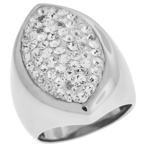 Size 8 - Inox Jewelry Women's Pear Shaped cz 316L Stainless Steel Ring