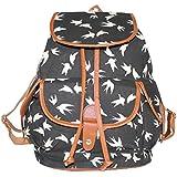 niceeshop(TM) Ladies Girls Vintage Floral Swallow Canvas Travel School Bag Backpack Rucksack