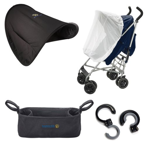 Sunshine Kids Shade Maker Canopy Pack for Strollers, Black/White