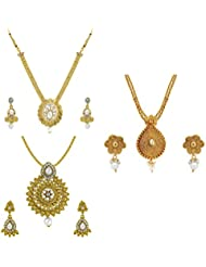 Om Jewells Traditional Ethnic Antique Gold Plated Combo Of 3 Pendant Set CO1000011