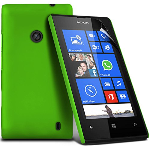 ( Green ) Nokia Lumia 530 Premium Hybrid Hard Back Shell Skin Case Cover With Lcd Screen Protector Guard By Fone-Case