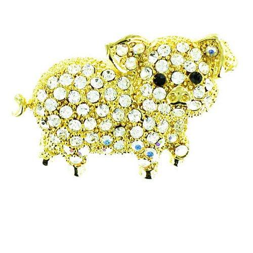 Placcato in oro, con cristalli, a forma di maialino Pimpi maialino