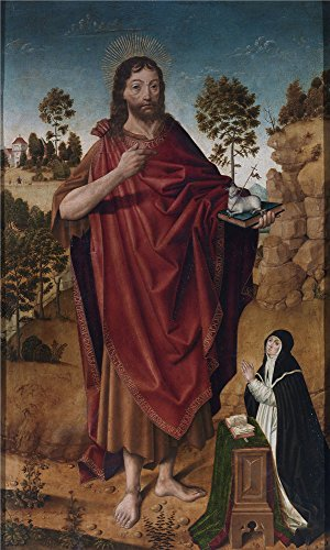 Perfect Effect Canvas ,the Cheap But High Quality Art Decorative Art Decorative Canvas Prints Of Oil Painting 'Cruz Diego De La San Juan Bautista Y Una Donante 1480 85 ', 10 X 17 Inch / 25 X 42 Cm Is Best For Powder Room Decoration And Home Artwork And Gifts
