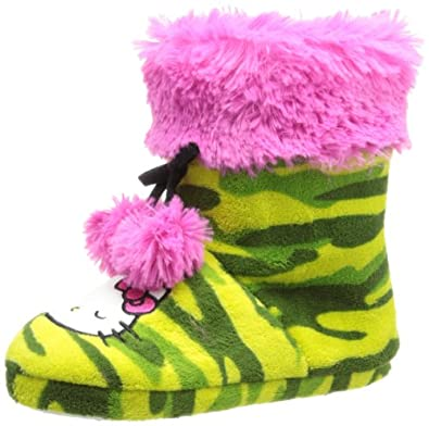 Hello Kitty Women's Printed Plush Boot With Teddy Top, Green, Small