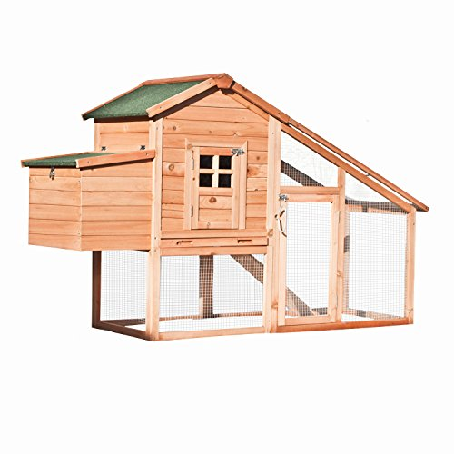 house poultry hutch rabbits chickens hen coop wooden cage roof access