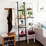 SoBuy 12.99x70.87-Inch Modern Leaning ladder Book Shelf, Black (FRG15-SCH)