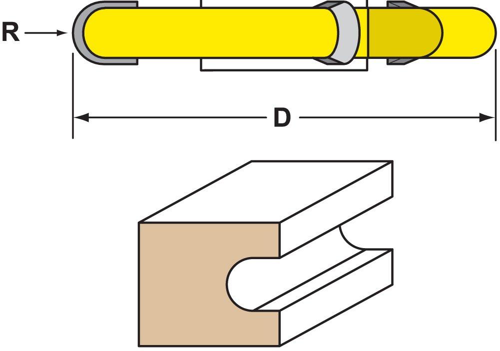 Woodtek 832609, Shaper Cutters, 1/4r Fluting Shaper Cutter, 3/4 Bore woodtek 820522 5 pack router bits edge forming classical 7 16 classical bit 1 4 shank