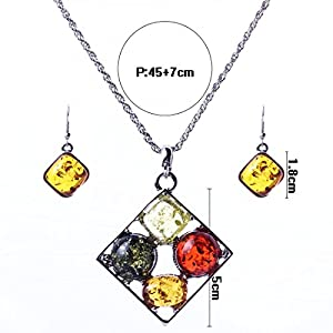 Qiyun 4 Color Amber Stone Pendant Necklace Earrings 4 Pierre D'Ambre Collier