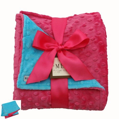 MEG Original Minky Dot Baby Girl Blanket Hot Pink/Turquoise - 1