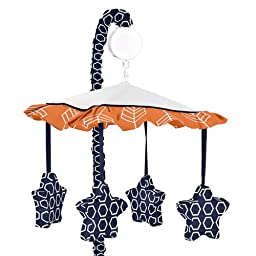 Orange and Navy Musical Baby Crib Mobile for Arrow Collection