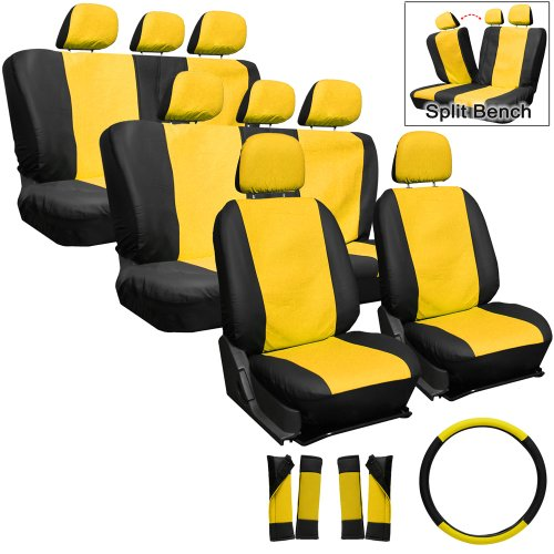 Oxgord Leatherette Seat Cover Set For Hummer, Airbag Compatible, Split Benchs, Airbag Compatible, Split Bench, Yellow & Black front-802562